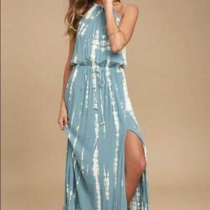 Lulus in a daydream blue and white tie dye maxi xs